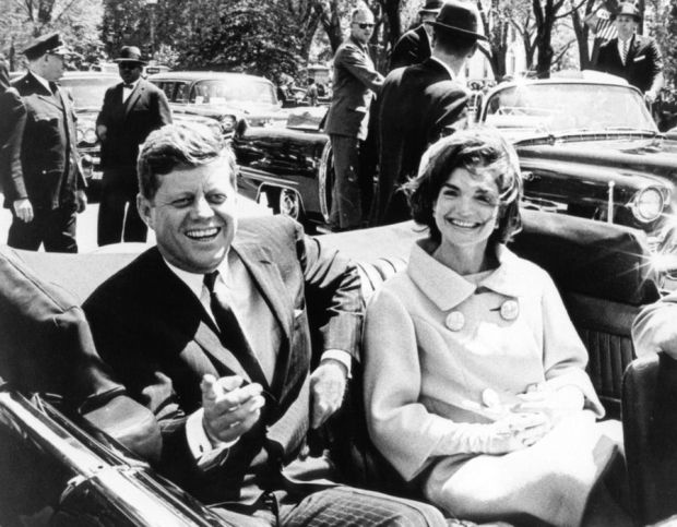 President John F. Kennedy and his wife, Jacqueline photographed just moments before Kennedy was assasinated. Nov 22, 1963.