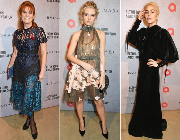 Sarah Ferguson, Lottie Moss and Lady Gaga attend the The Radical Eye' dinner and private view for the Elton John Aids Foundation