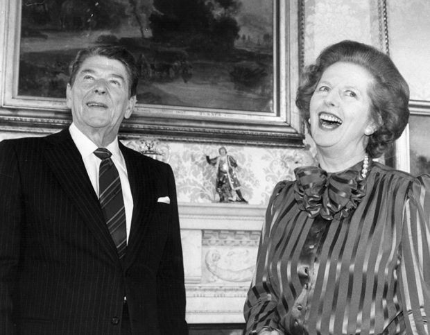 Margaret Thatcher shares a joke with Ronald Reagan, at No. 10 Downing Street