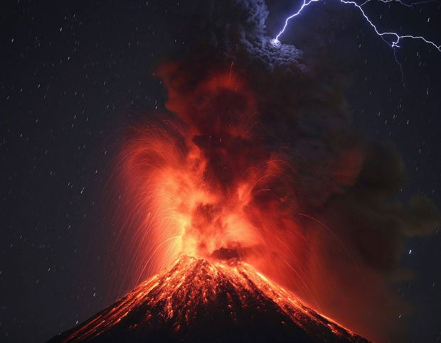 Colima Volcano, the most active in Mexico, during an eruption as seen from the site of Carrizalillos, Colima, Mexico