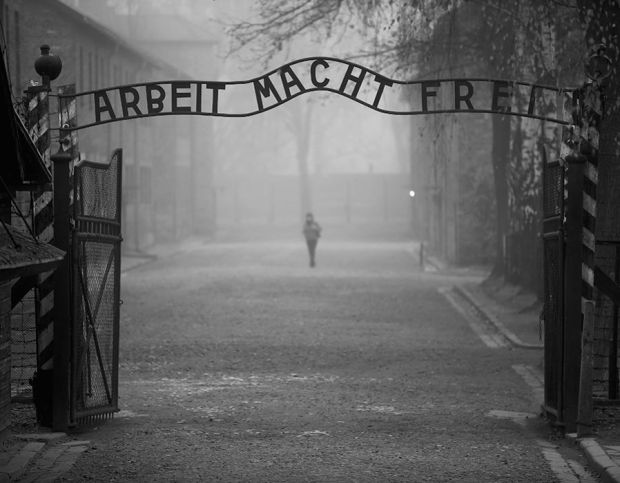 The infamous German inscription reads 'Work Makes Free' at the main gate of the Auschwitz I extermination camp.