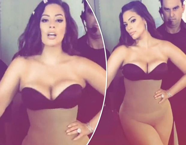Ashley Graham flaunts serious cleavage in brave underwear-clad snap at Miss Universe show