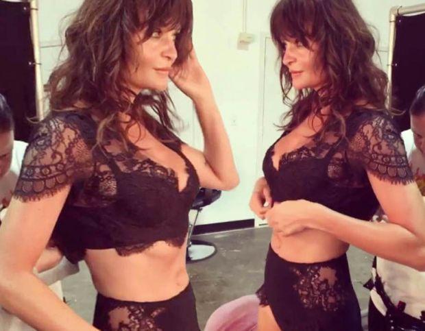Helena Christensen flaunts her figure in lace lingerie
