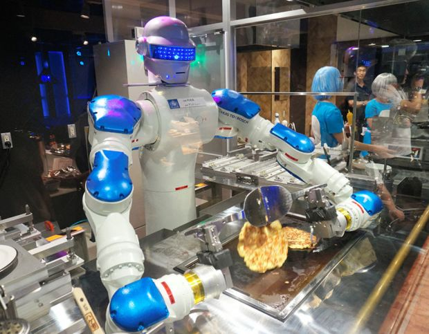CHEF: A start-up called Moley Robotics has invented a 100% automated, intelligent robot chef. The cooking automaton can learn recipes and techniques, whip up gourmet meals and even clean up after itself.