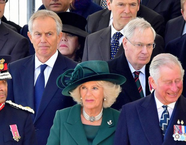 Former prime minister Tony Blair, the Prince of Wales and Duchess of Cornwall attending a Military Drumhead Service on Horse Guards Parade in London