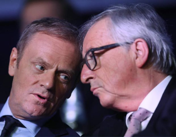 Donald Tusk and Jean-Claude Juncker attend the EPP Summit in Malta