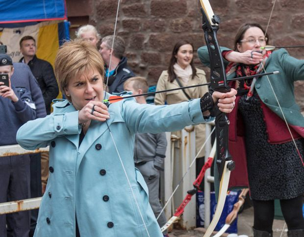 Nicola Sturgeon, accompanied by Banff and Buchan candidate Eilidh Whiteford, visits the May Day event at Turriff in northwest Scotland on May 1, 2017, ahead of the June 8 general election