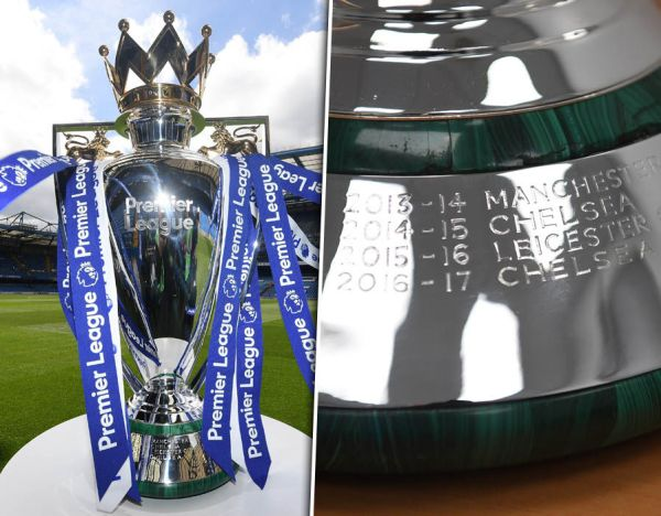 Premier League trophy Chelsea colours added and club name