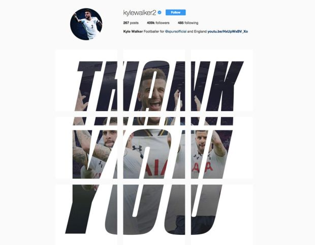 Kyle Walker posted nine messages to say 'Thank You' and Spurs fans are worried