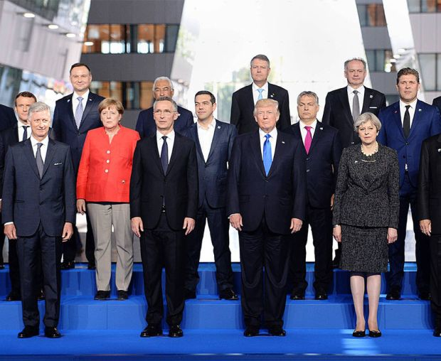 A family picture during the NATO (North Atlantic Treaty Organization) summit at the NATO headquarters, in Brussels, on May 25, 2017