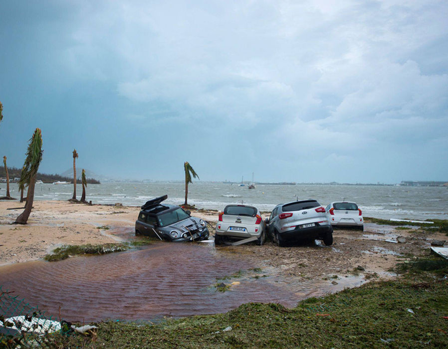 Cars on the beach in Marigot after Hurricane Irma