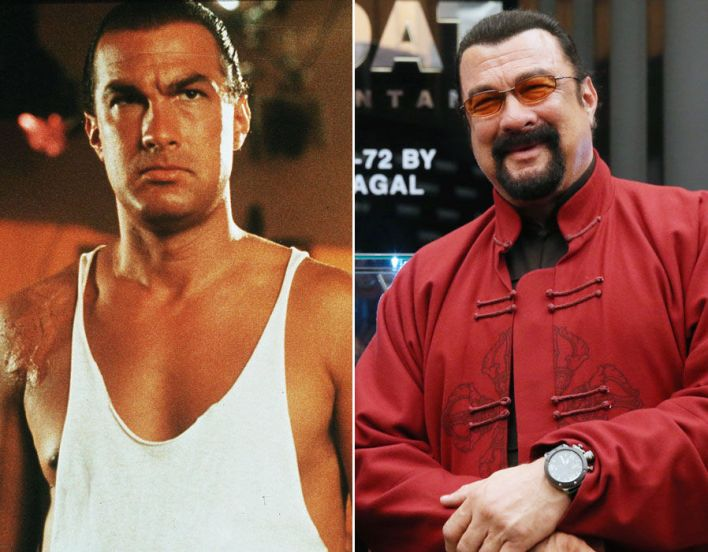 Steven Seagal pictured in 1990 and 2017