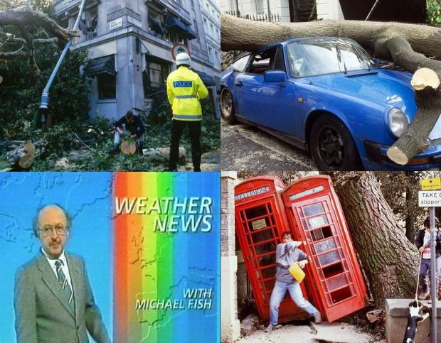 Damaged caused by the Great Storm in Britain, 1987