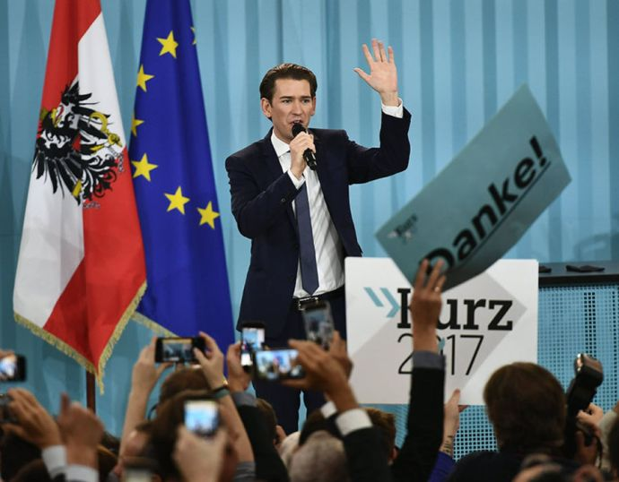 Austrian Foreign Minister Sebastian Kurz, the leader and top candidate of the Austrian Peoples Party (OeVP) addresses his supporters during an OeVP's election party after the Austrian Federal Elections