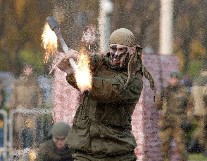 A serviceman of the Russian National Guard performs