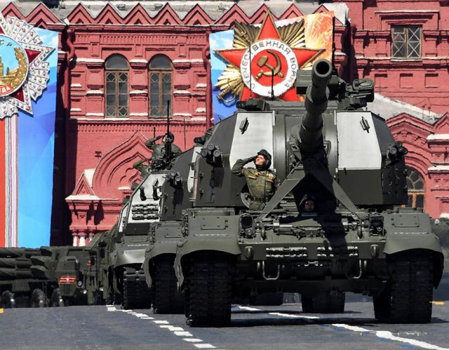 Russia's 2S-35 Coalition-SV self-propelled 152 mm howitzers parade through Red Square during the Victory Day military parade in Moscow