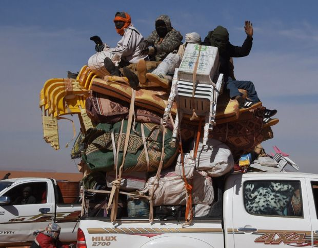 A fully loaded pick up truck in Madama near the border with Libya