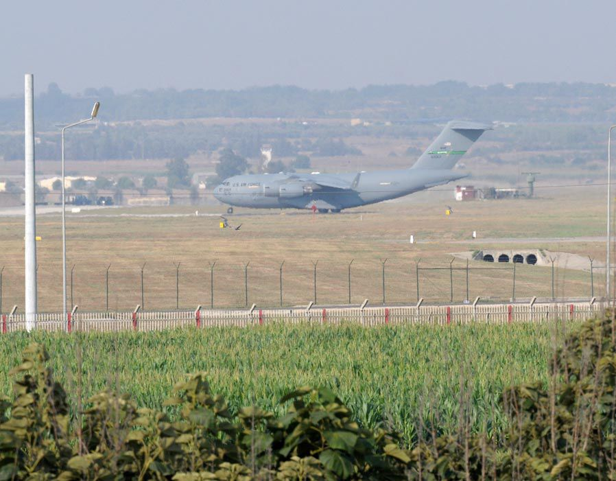 Aircrafts belonging to US Air Force arrive in Incirlik Base in Turkey's Adana as part of operations against ISIS