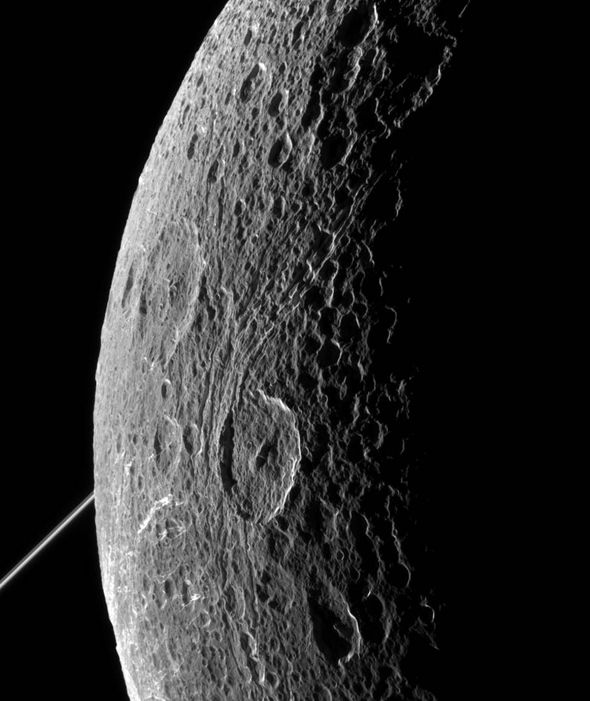 Dione's Craggy Surface