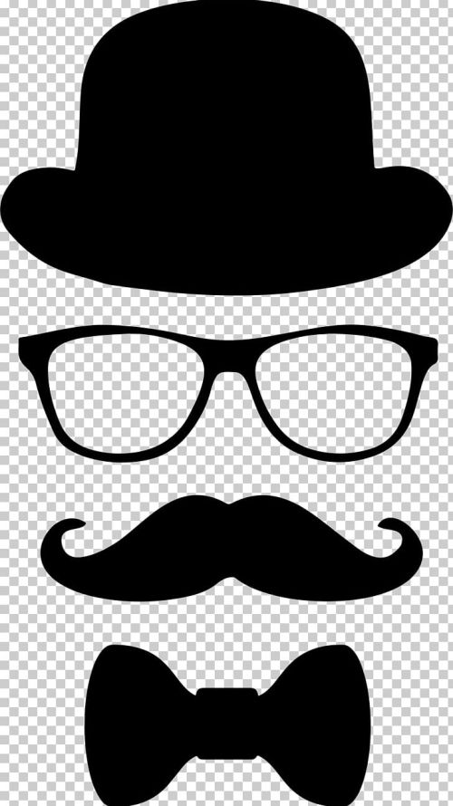 small resolution of moustache top hat glasses bow tie png clipart artwork beard black and white bowler hat