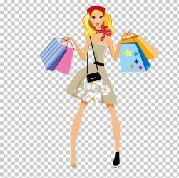 Shopping Fashion Girl Illustration PNG Clipart Art Bag Cartoon Clothing Coffee Shop Free PNG Download