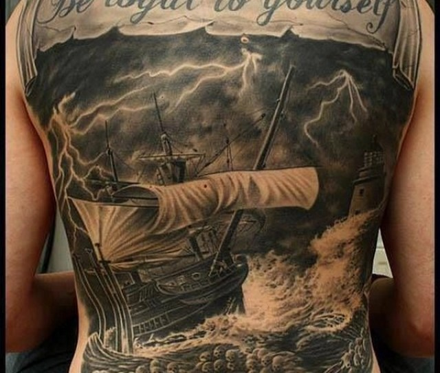 Sailing Back Tattoo For Men