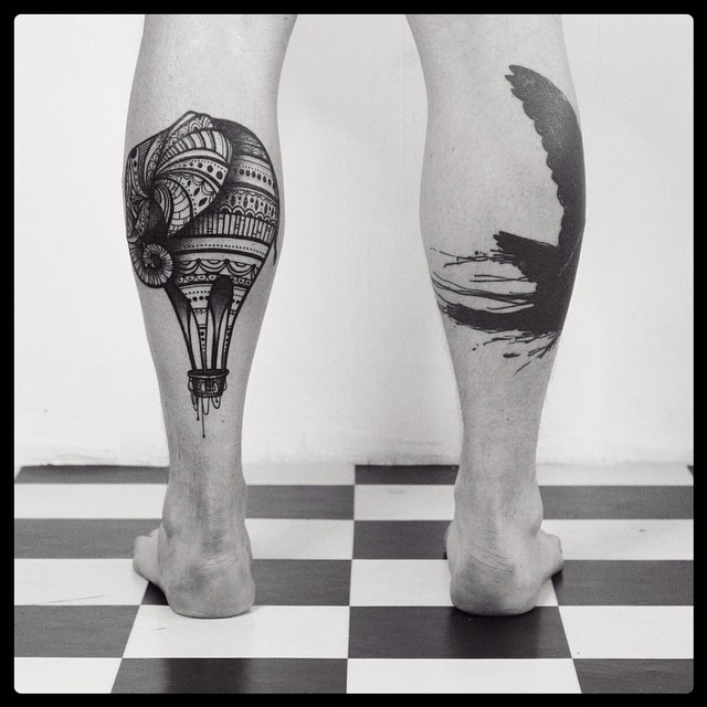 Solid Black Tattoo Leg