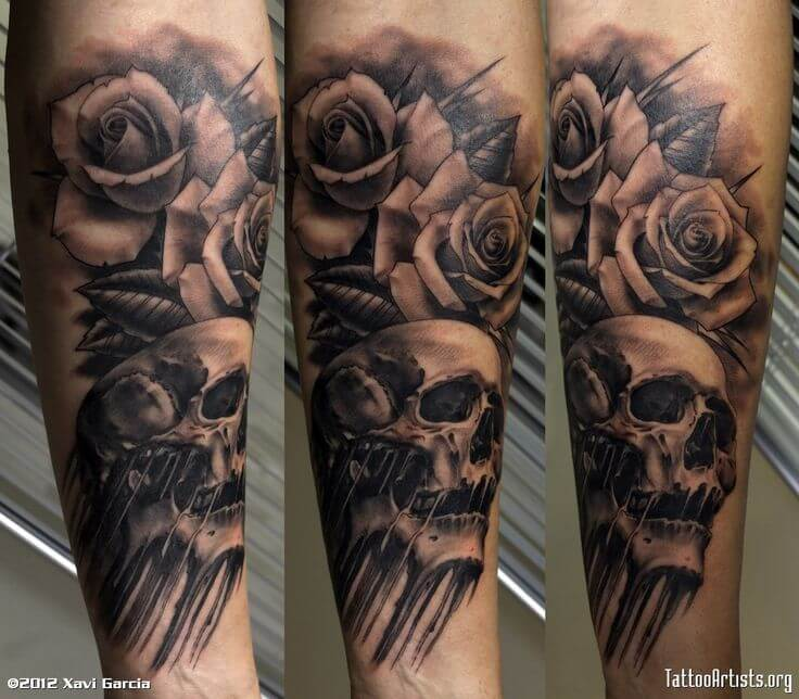 Skull And Rose Tattoo Drawing