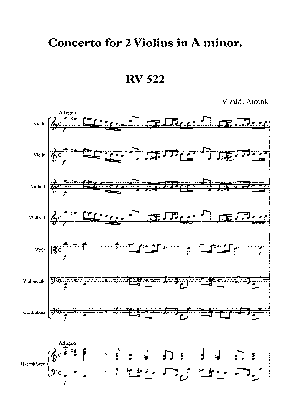 Free Sheet Music Bach Concerto For 2 Violins