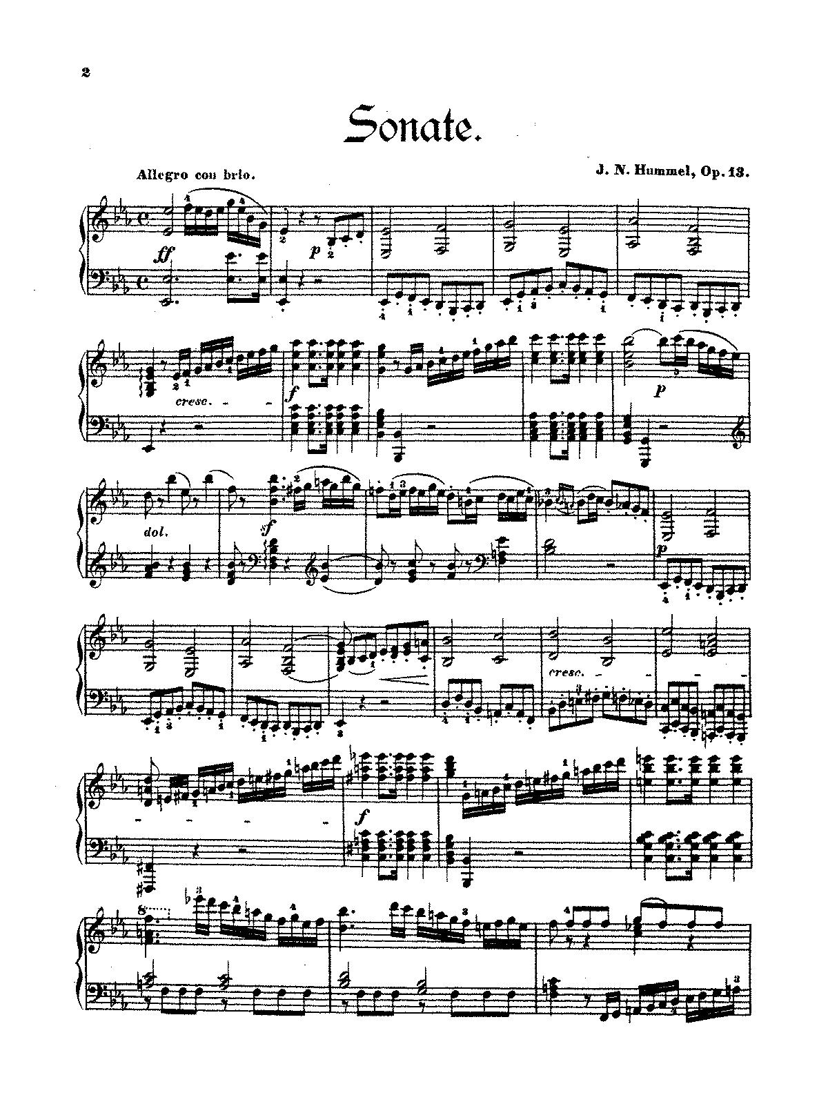 Hummel, Sonata Allelulja