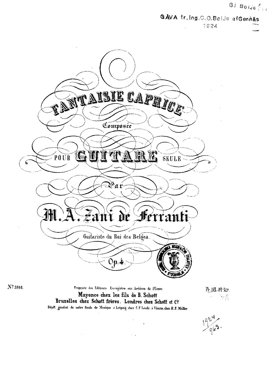 Fantaisie Caprice, Op.4 (Ferranti, Marco Aurelio Zani de