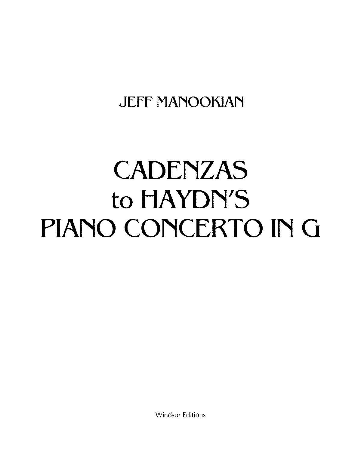 Keyboard Concerto In G Major Hob Xviii 4 Haydn Joseph