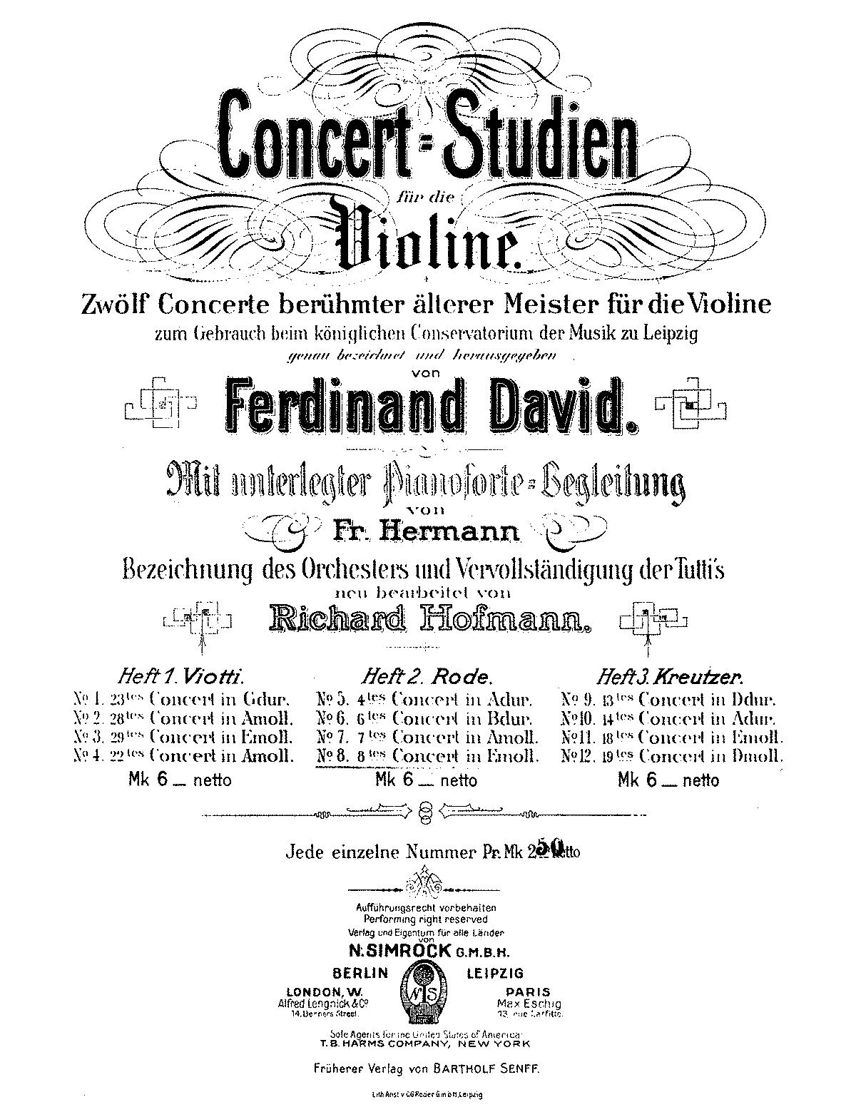 Violin Concerto No.8 in E minor, Op.13 (Rode, Pierre