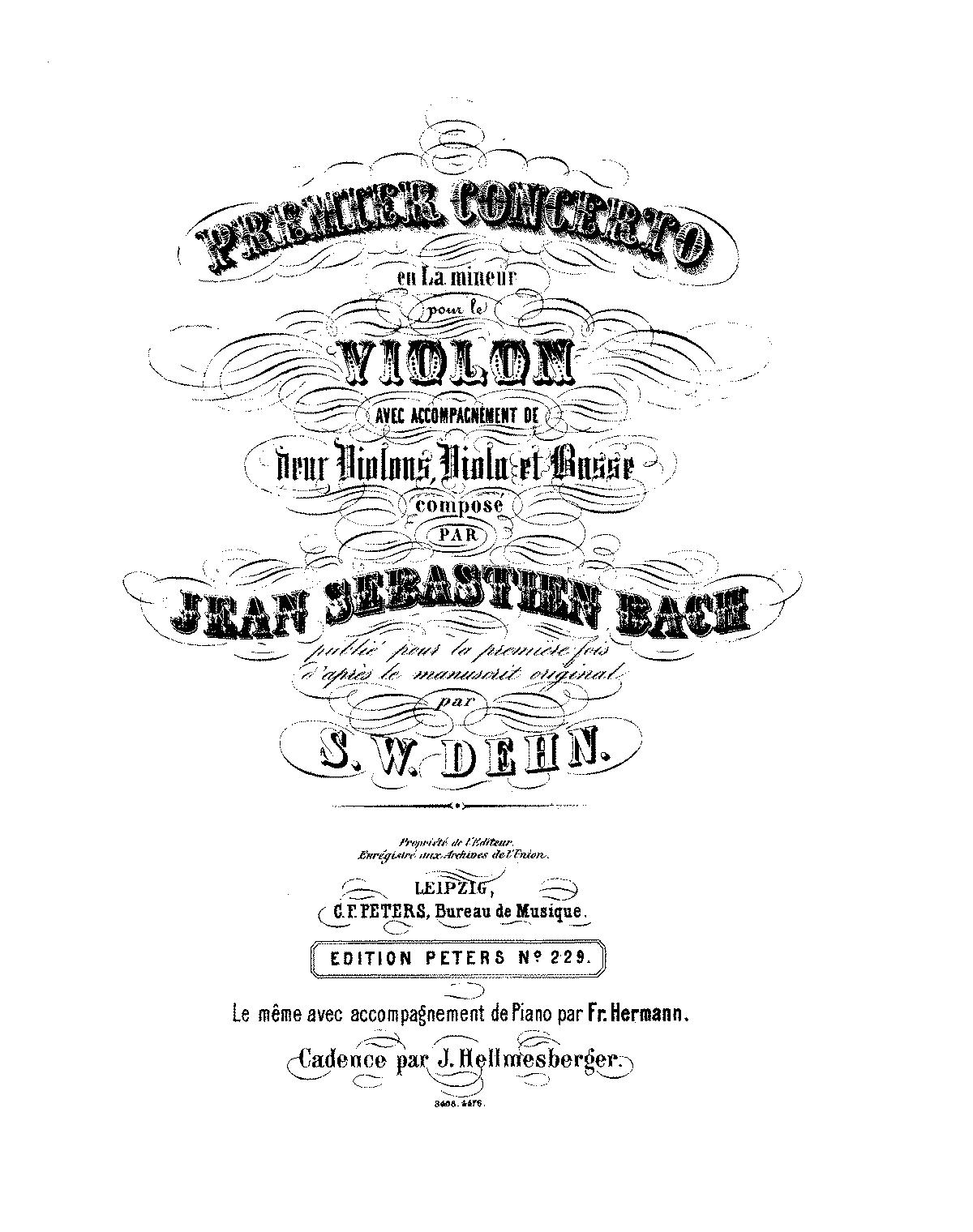 Violin Concerto in A minor, BWV 1041 (Bach, Johann