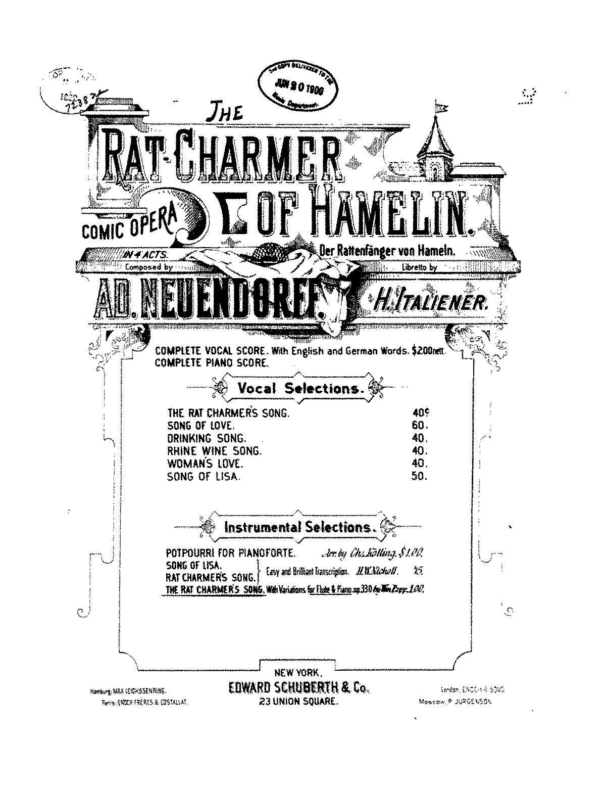 Variations after Neuendorff's Die Rattenfänger von Hameln