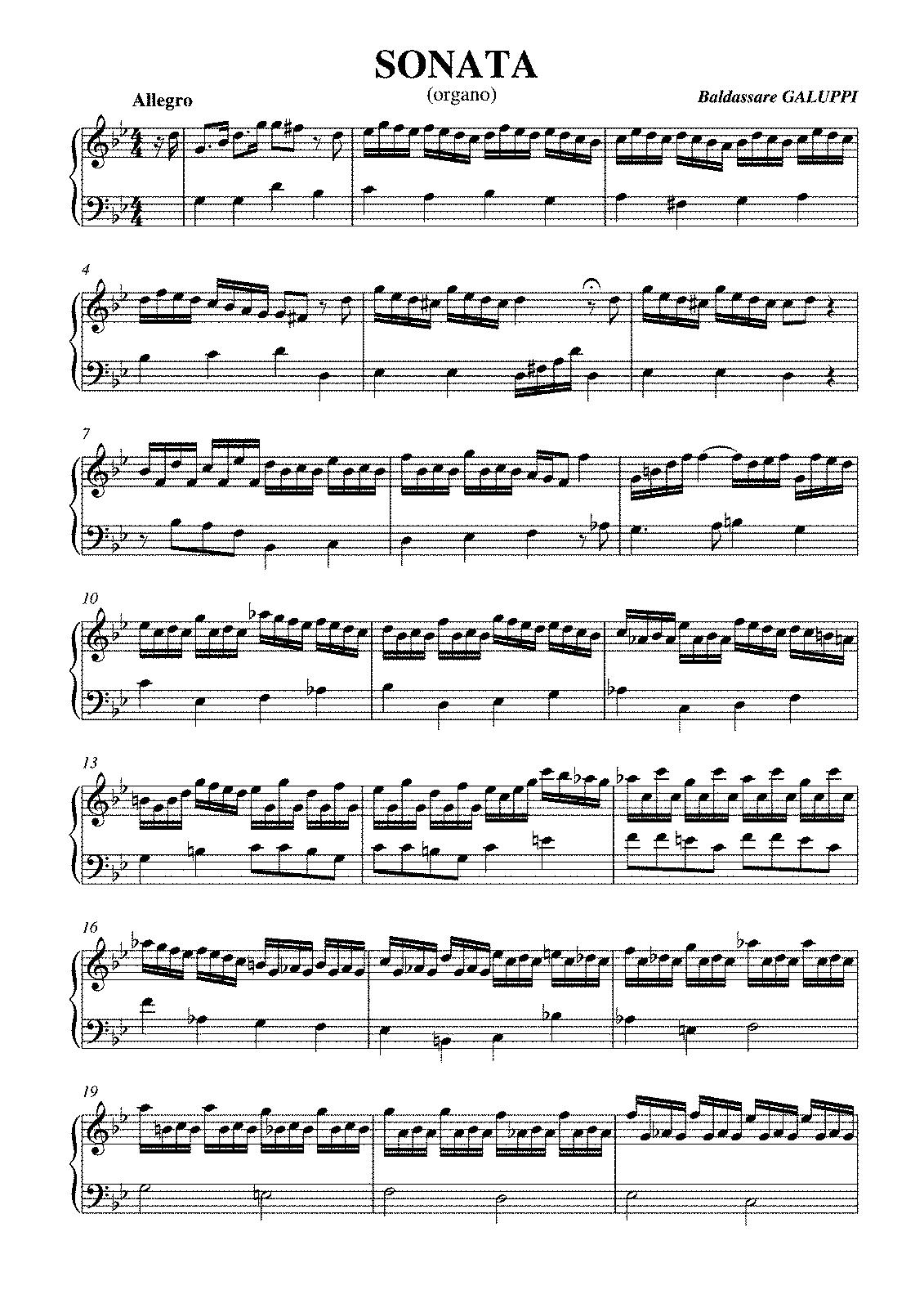 Galuppi, Sonata in sol minore