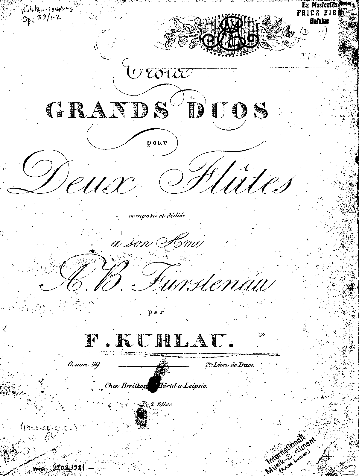 3 Grand Duets for 2 Flutes, Op.39 (Kuhlau, Friedrich