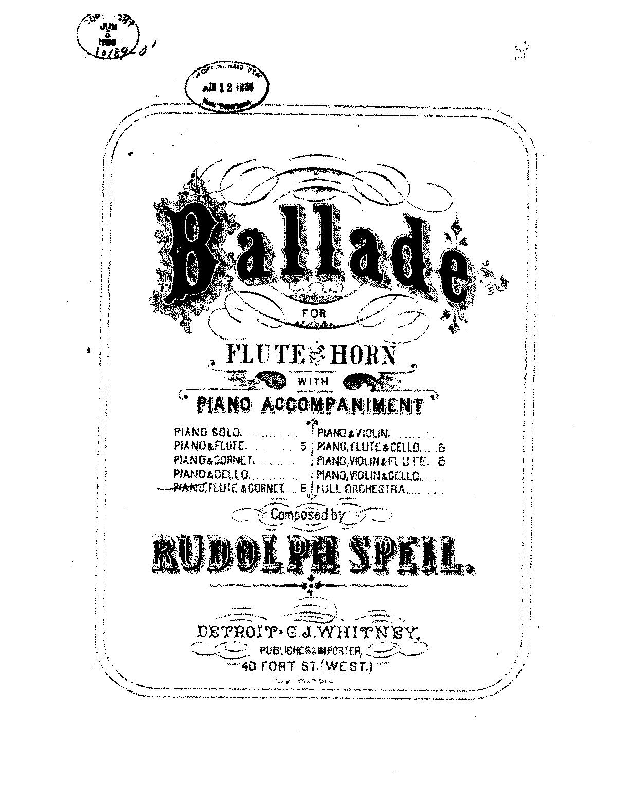 Ballade for Flute, Cornet and Piano (Speil, Rudolph