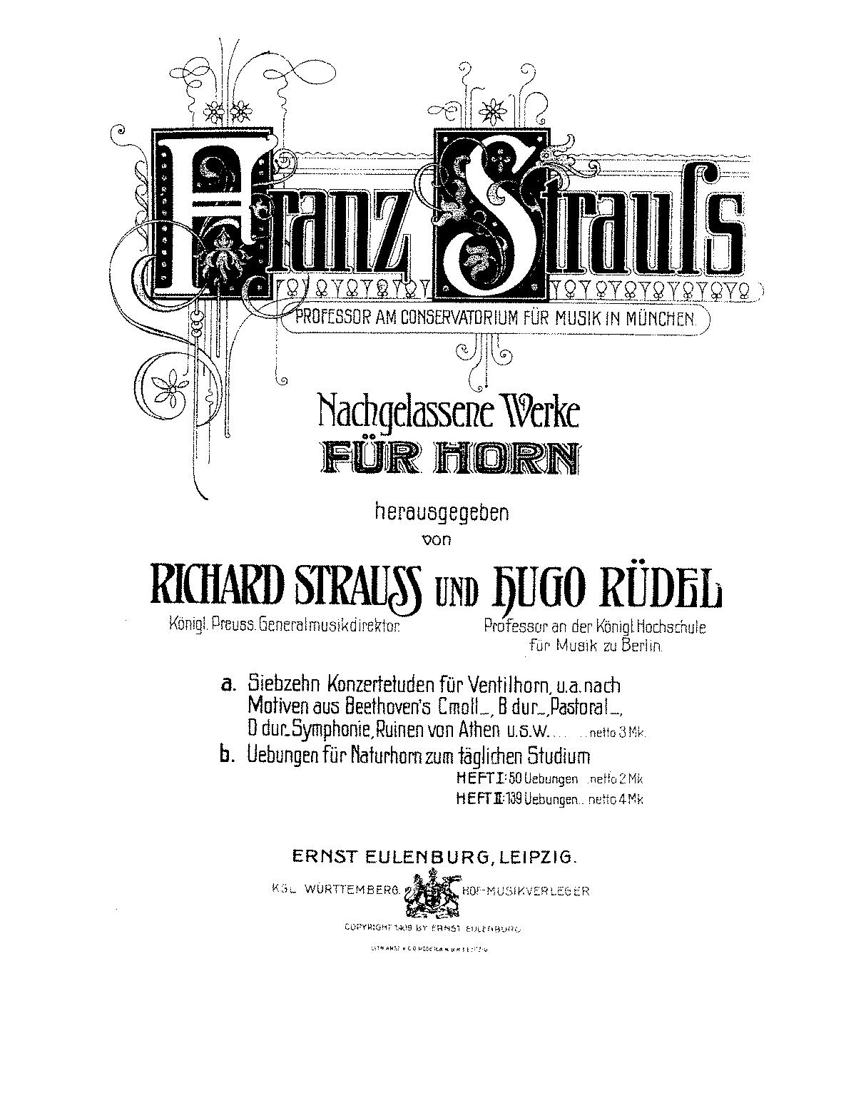 Übungen für Naturhorn zum täglichen Studium (Strauss