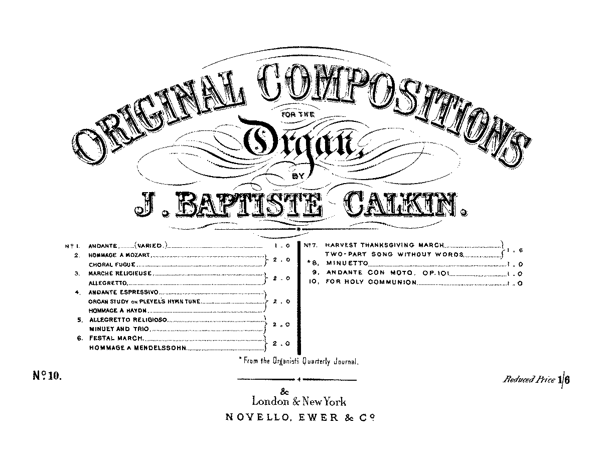 Original Compositions for the Organ (Calkin, John Baptiste