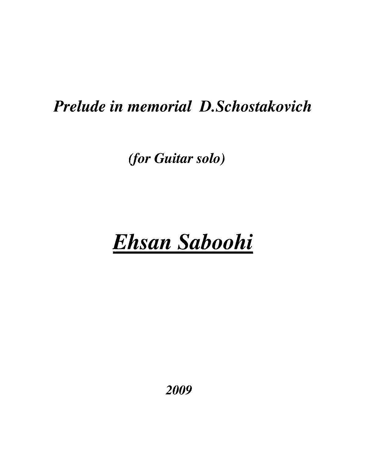 Prelude In Memorial D Shostakovich Saboohi Ehsan