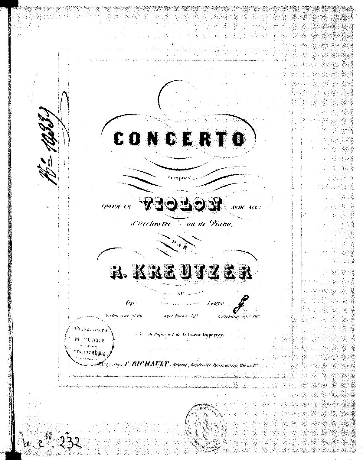 Violin Concerto No.19 in D minor (Kreutzer, Rodolphe