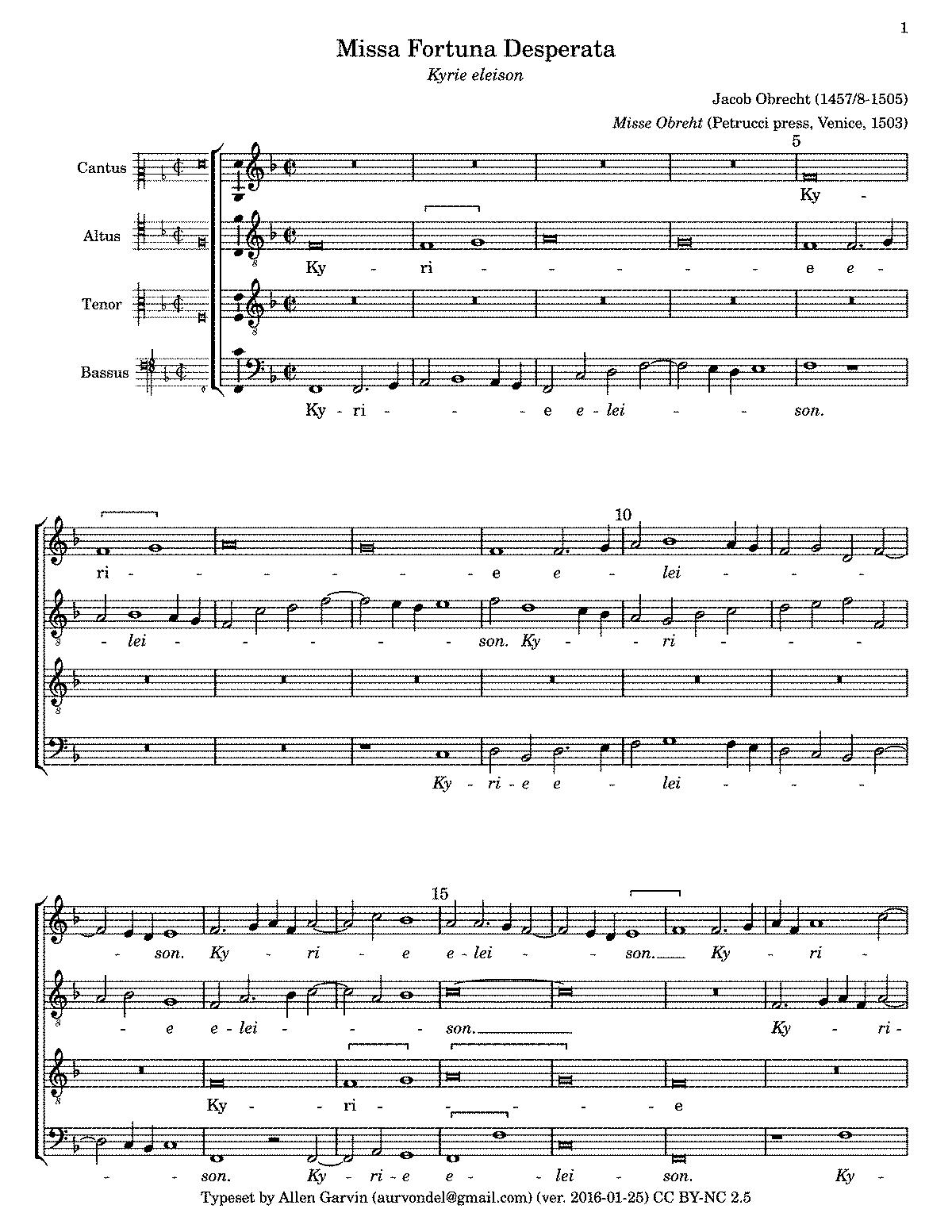 Missa Fortuna desperata di Obrecht, Kyrie
