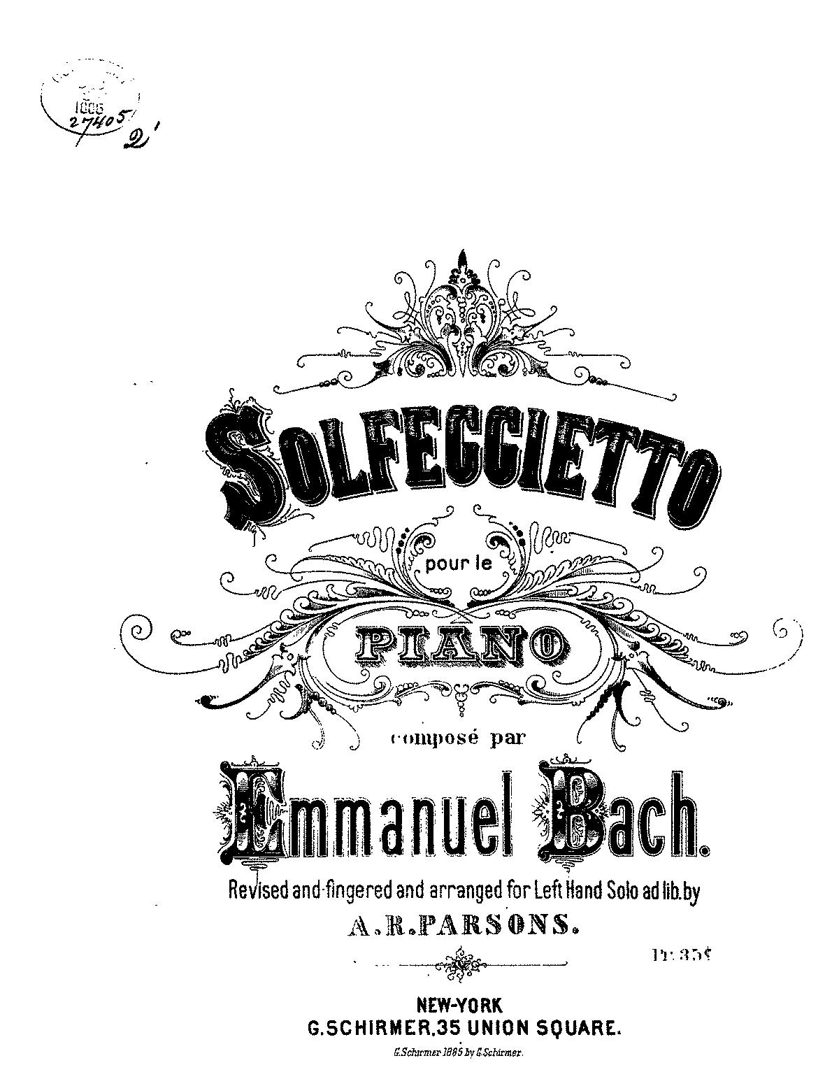 Solfeggio in C minor, H.220 (Bach, Carl Philipp Emanuel