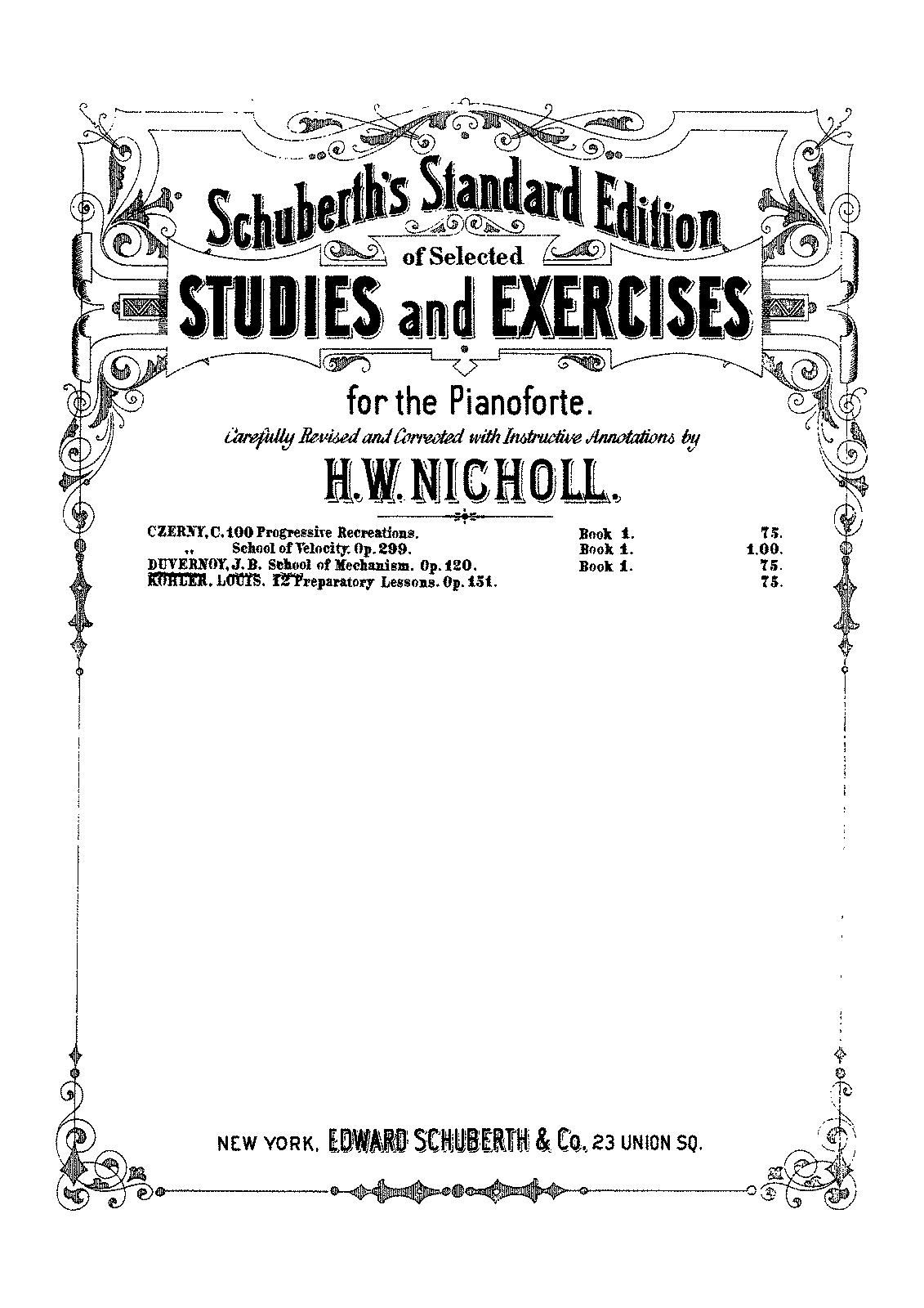 École du mécanisme, Op.120 (Duvernoy, Jean-Baptiste