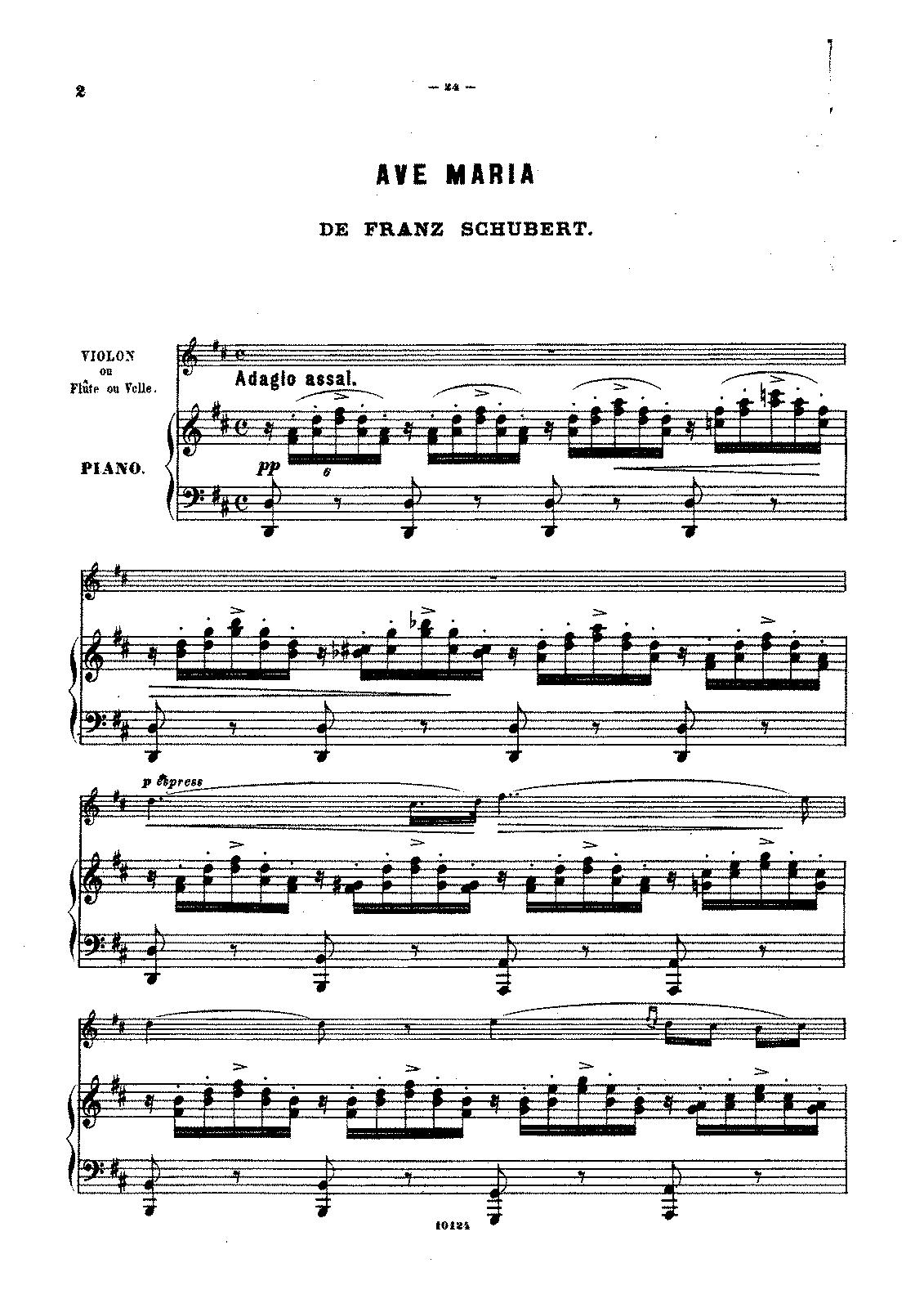 Ave Maria Schubert Latin Text Sheet Music