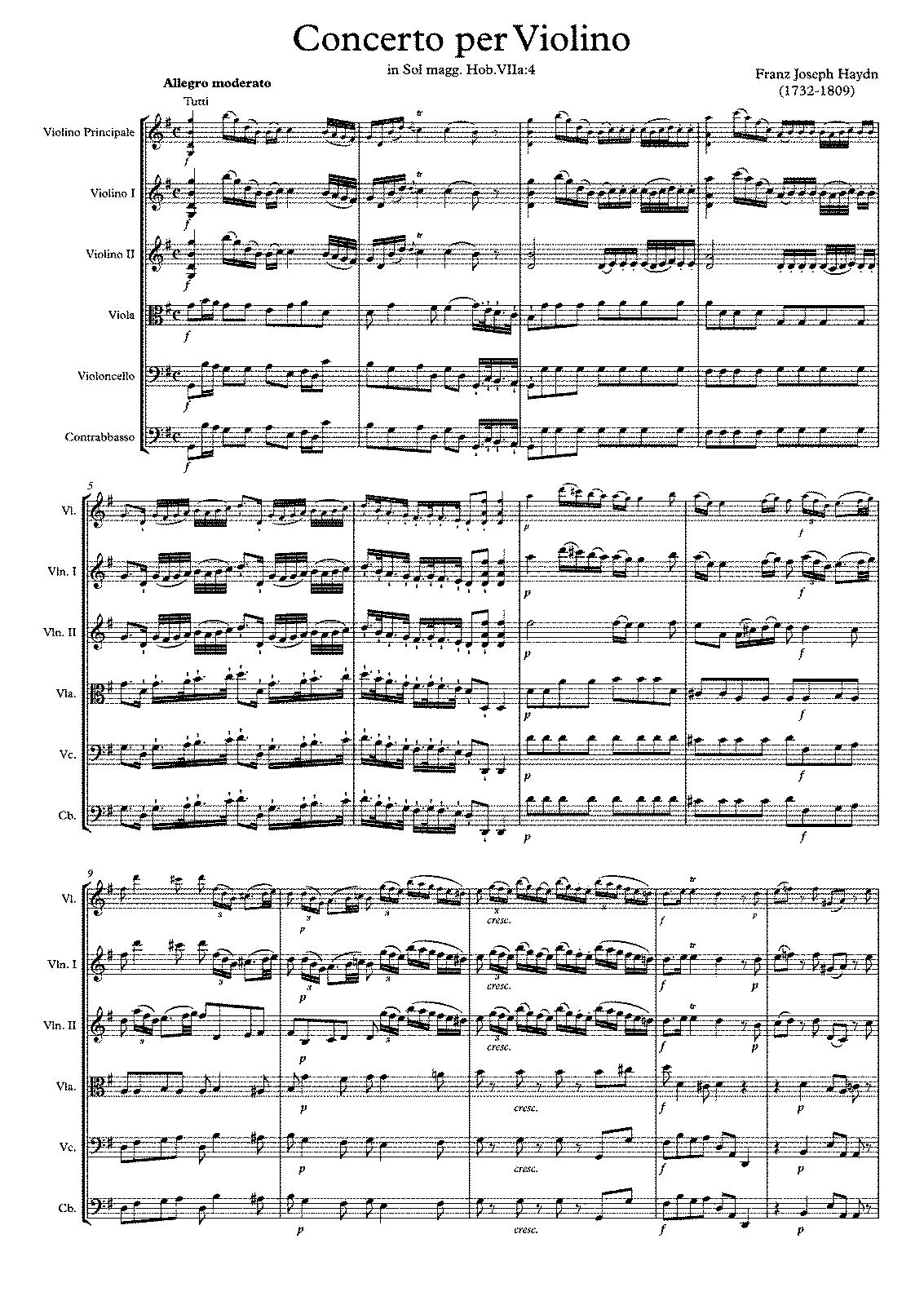 Violin Concerto in G major, Hob.VIIa:4 (Haydn, Joseph