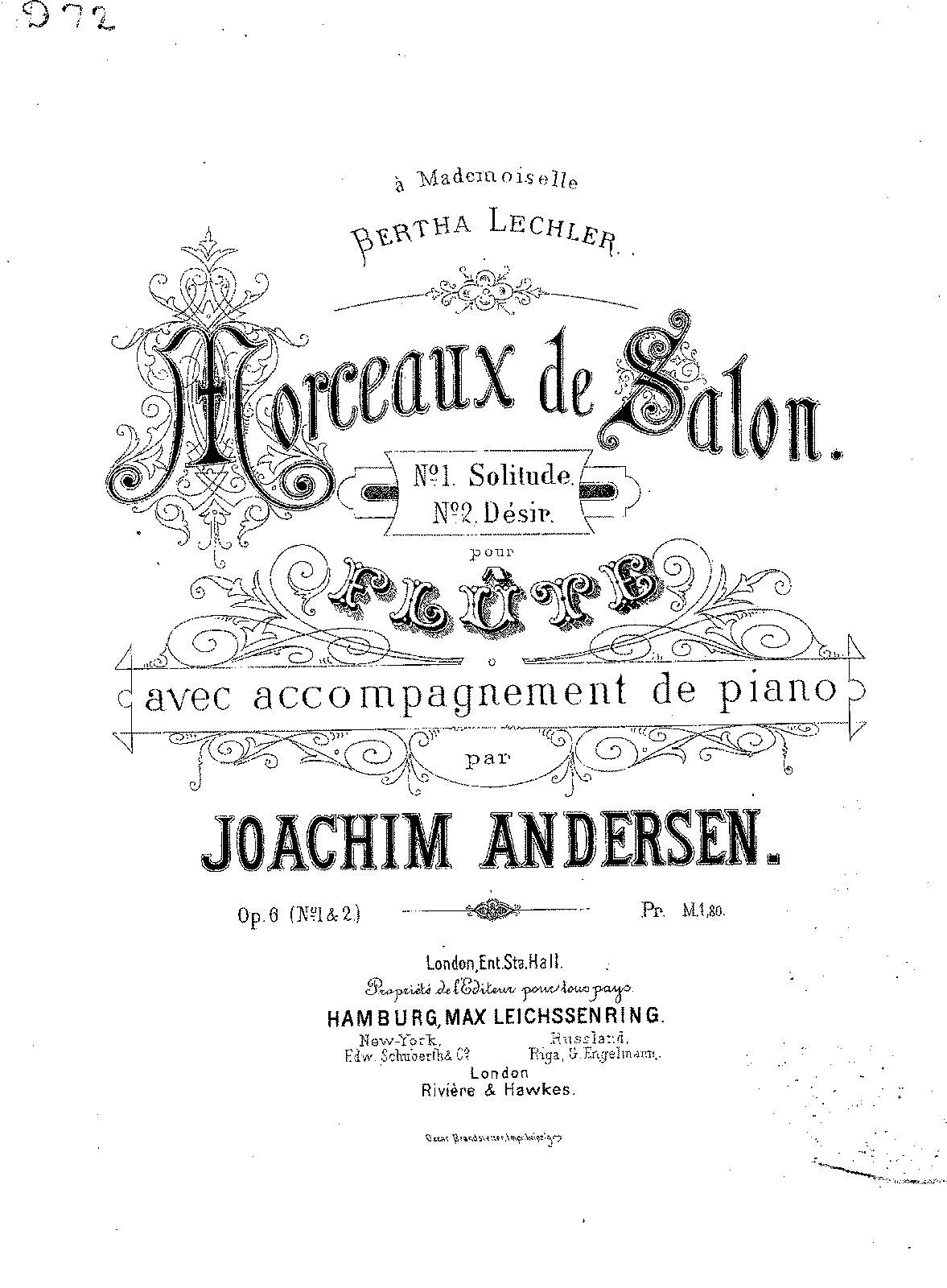 2 Salon Pieces for Flute and Piano, Op.6 (Andersen