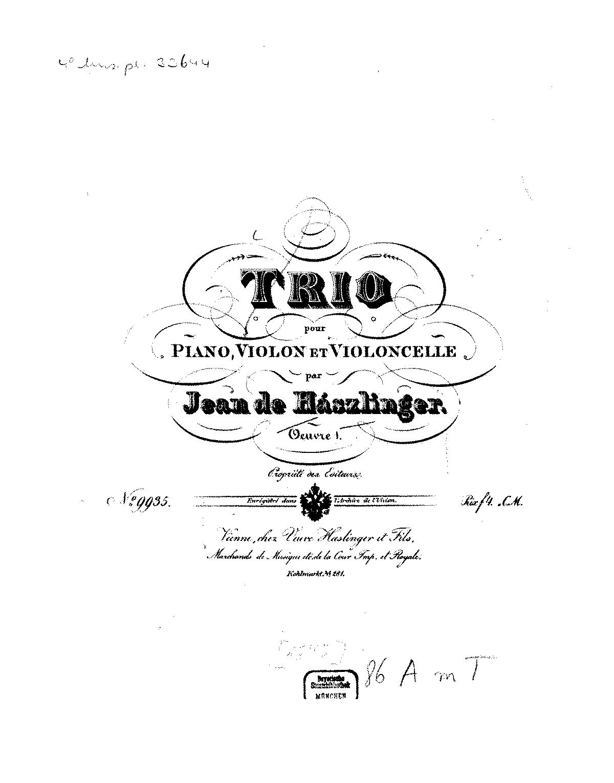 Piano Trio, Op.1 (Hasslinger-Hassingen, Johann von