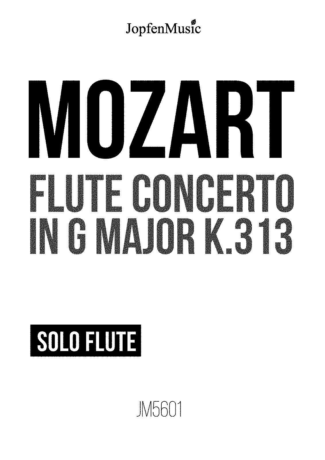 Flute Concerto in G major, K.313/285c (Mozart, Wolfgang